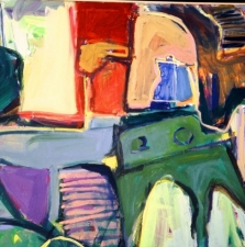 Interior with Blue Teapot and Green Table - 45x60